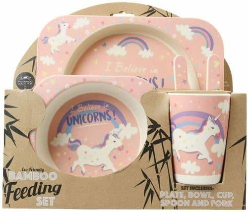5pcs Bamboo Unicorn Children's Eco Dinner Set Kids Breakfast Feeding Plate Bowl